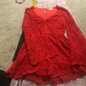 Red lace romper